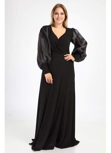 Angelino Butik Angelino Büyük Beden Simli Esnek Kapalı Yırtmaçlı Abiye Elbise NV4030 Siyah